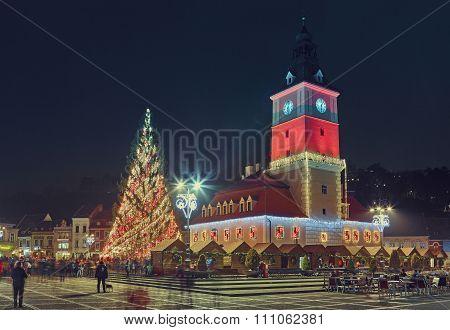 Council Square On Christmas, Brasov, Romania