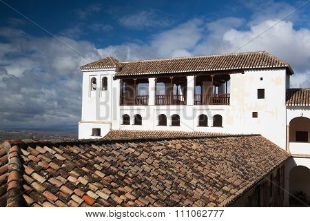 White Building In The Generalife Palace, Granada, Spain