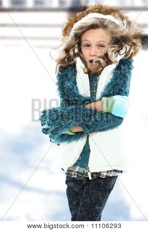 Cold Child In Snow Storm