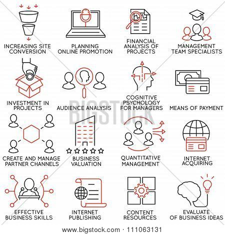 Set of icons related to business management - part 33