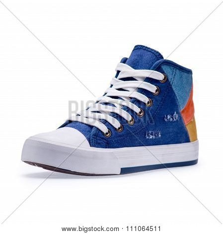 Single Of High Top Color Denim Gymshoes