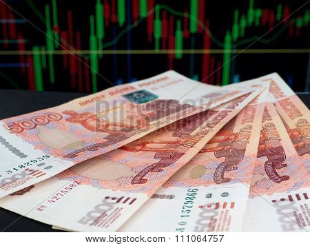 Russian Five Thousands Roubles Banknotes On The Trading Chart Background