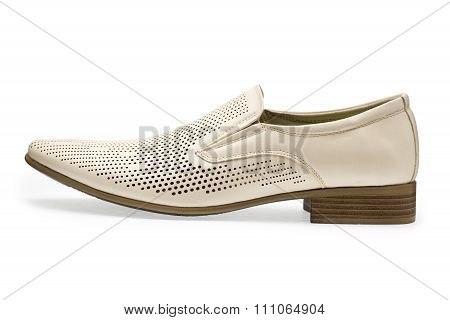 Single Of Classical White Leather Shoes For Men, Without Shoelaces