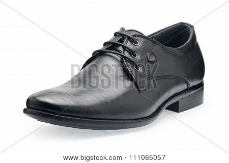 Single Of Classical Black Leather Shoes For Men, With Shoelaces