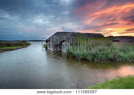 Sunset Over Hickling Broad In Norfolk