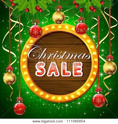 Christmas Sale On Round Banner With Balls