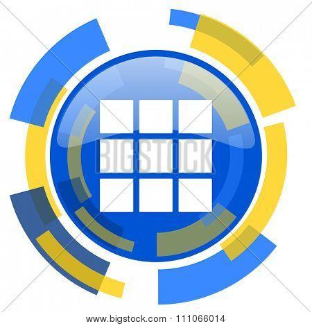 thumbnails grid blue yellow glossy web icon