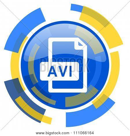 avi file blue yellow glossy web icon