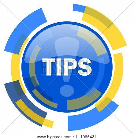 tips blue yellow glossy web icon