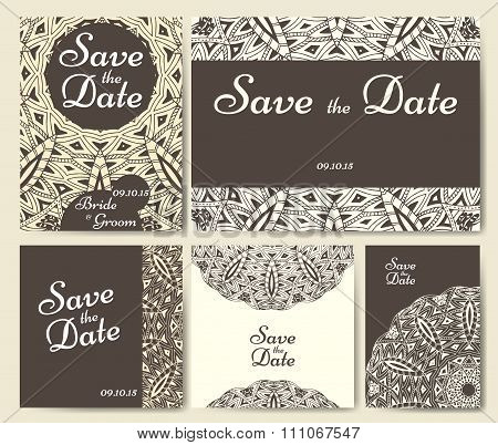 Set Of Wedding Invitations. Wedding Cards Template With Individual Concept. Design For Invitation, T