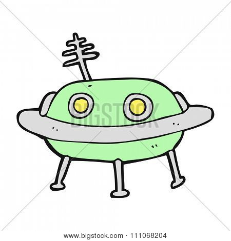 freehand drawn cartoon alien spaceship