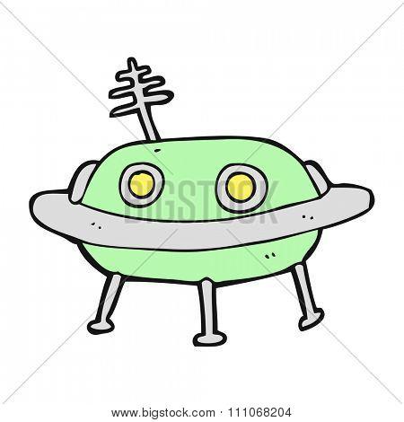 freehand drawn cartoon alien spaceship