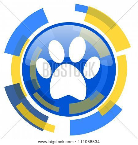foot blue yellow glossy web icon