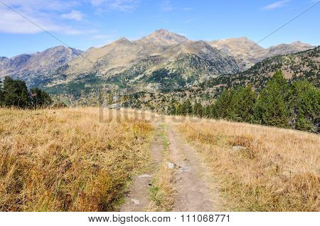View Of Pica D'estats In The Valley Of Estanyo River, Andorra