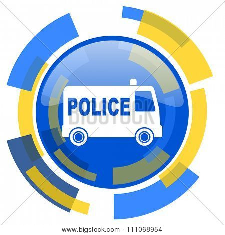 police blue yellow glossy web icon