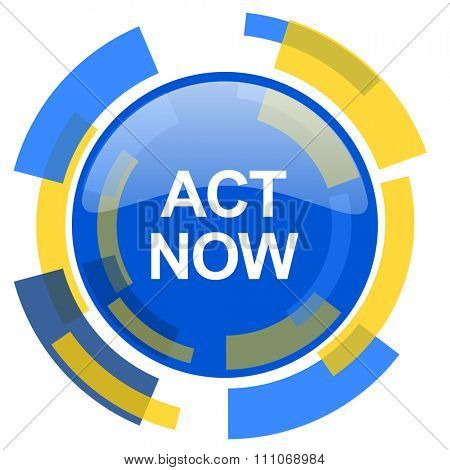 act now blue yellow glossy web icon
