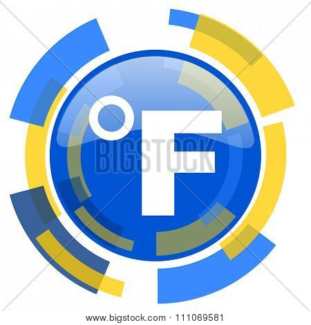 fahrenheit blue yellow glossy web icon