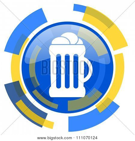 beer blue yellow glossy web icon