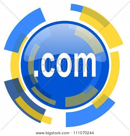 com blue yellow glossy web icon