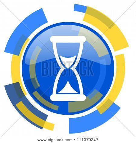 time blue yellow glossy web icon