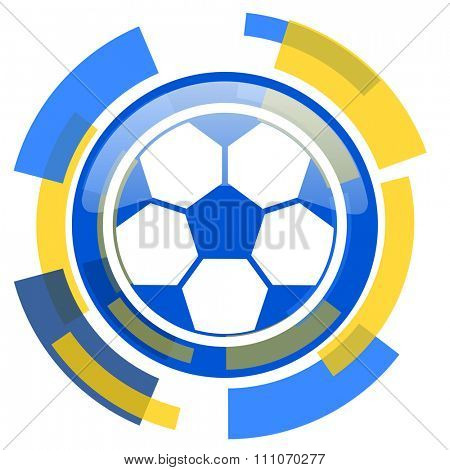 soccer blue yellow glossy web icon