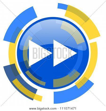 rewind blue yellow glossy web icon