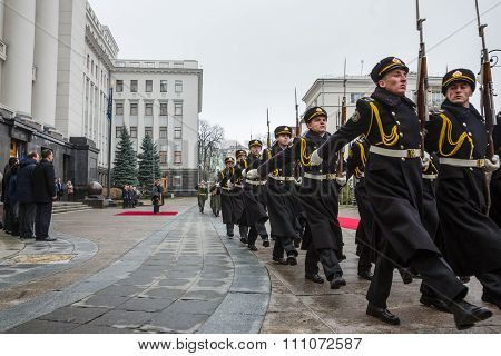 Guard Of Honor Near The Presidential Administration Of Ukraine