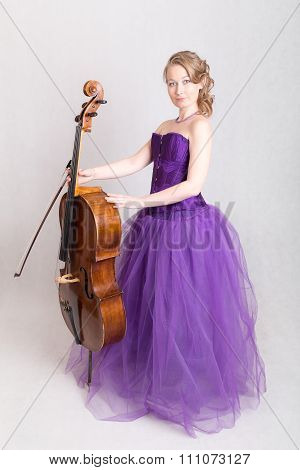 Girl In Dress With Cello
