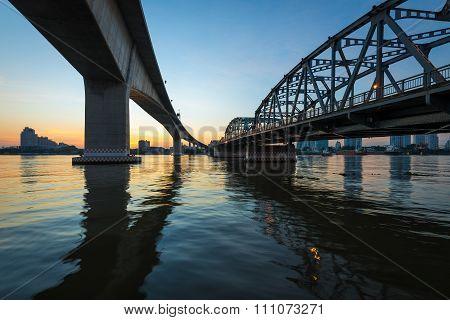 Krung Thep Bridge ( Bascule bridge) at sunrise in Bangkok city, This bridge connect Bangkok side and Thonburi side.