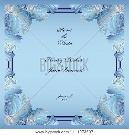 Winter frozen glass design. Wedding frame background. Vector  illustration.