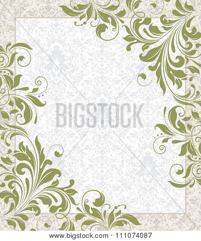 Vintage invitation card with ornate elegant retro abstract floral design, olive green flowers and leaves on faded green and white background with frame border and text label. Vector illustration.