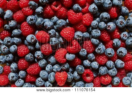 Background Texture Raspberries And Blueberries Blueberry