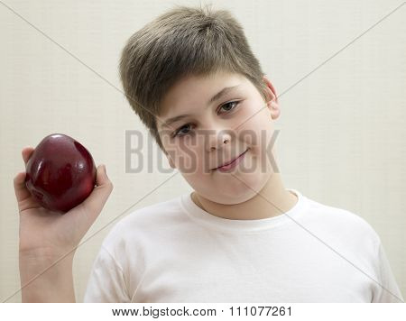 Portrait of  boy with a red apple in the hand