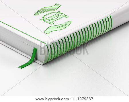 Insurance concept: closed book, Car And Palm on white background