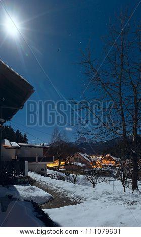 Night In Alpine Village. Winter View.