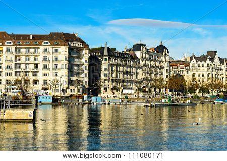 GENEVA, SWITZERLAND - NOVEMBER 19, 2015: view of Geneva. Geneva is the second most populous city in Switzerland, after Zurich.