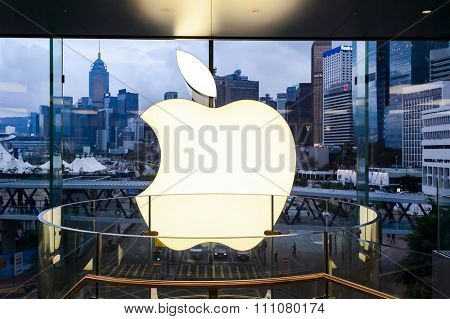 HONG KONG - MAY 5, 2015:  interior of Apple store. Apple Inc. is an American multinational technology company headquartered in Cupertino, California
