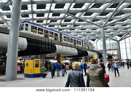 The Hague, Netherlands - May 8, 2015: Travelers At Central Station Of The Hague