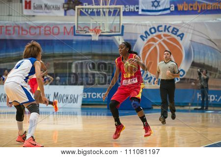 MOSCOW -- DECEMBER 4, 2014: K. Keyru (4) vs D. Hightower (6) on the International Europe bascketball league match Dynamo Moscow vs Maccabi Ashdod Israel in sport palace Krilatskoe, Moscow, Russia. Dynamo loss 59:67