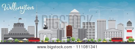 Wellington skyline with grey buildings and blue sky. Business travel and tourism concept with modern buildings. Image for presentation, banner, placard and web site.