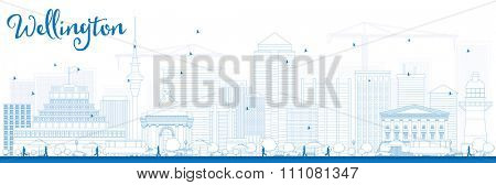 Outline Wellington skyline with blue buildings. Business travel and tourism concept with modern buildings. Image for presentation, banner, placard and web site.