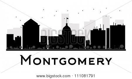 Montgomery City skyline black and white silhouette. Simple flat concept for tourism presentation, banner, placard or web site. Business travel concept. Cityscape with landmarks