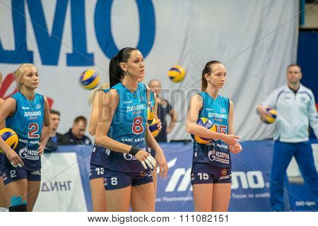 MOSCOW RUSSIA - DECEMBER 2, 2015: N. Goncharova (Dynamo (MSC) during the game on women's Rissian volleyball Championship game Dynamo (MSC) vs Dynamo (KZN) at the Luzhniki stadium in Moscow Russia. Kazan won in serie 3: 2