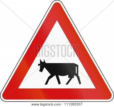 Slovenia Road Sign - Livestock Crossing