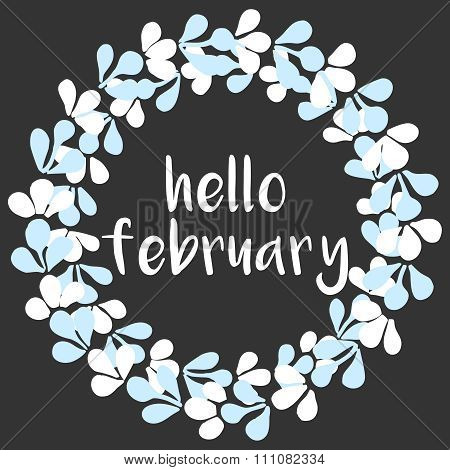 Hello february winter watercolor wreath vector card