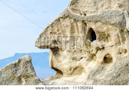 Rock face in cave city Uplistsikhe