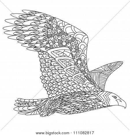 Zentangle stylized flying eagle. Hand Drawn doodle vector illustration isolated on white background.