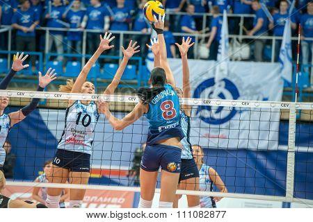MOSCOW RUSSIA - DECEMBER 2, 2015: E. Gamova (Dynamo (KZN) 11 while playing on women's Rissian volleyball Championship game Dynamo (MSC) vs Dynamo (KZN) at the Luzhniki stadium in Moscow Russia. Kazan won in serie 3: 2