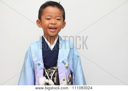 Japanese boy selebrating Seven Five Three (7-5-3) festival (5 years old)