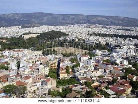 cityscape of Athens Greece Temple of Olympian Zeus